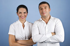 Happy couple of business people Royalty Free Stock Photos