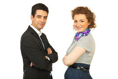Happy couple of business people Stock Photo