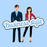 Happy couple in business style clothing royalty free illustration
