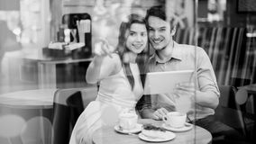 Happy couple in cafe Stock Photography