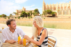Happy couple on cafe on Mallorca stock photo