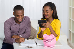 Happy Couple Calculating Bill Stock Images
