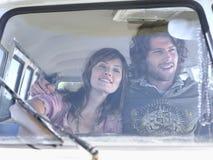 Happy Couple In Campervan Stock Photo