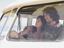 Happy Couple In Campervan Royalty Free Stock Images