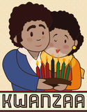Happy Couple with a Candlelight Celebrating Kwanzaa, Vector Illustration. Poster with happy couple celebrating Kwanzaa holding a traditional candlelight with Royalty Free Stock Images