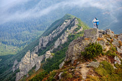 Happy couple in the Carpathians mountains Stock Images