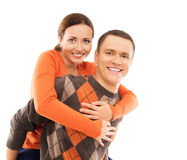 Happy couple in casual clothes isolated on white Stock Images