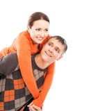 Happy couple in casual clothes isolated on white Royalty Free Stock Images