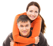 Happy couple in casual clothes isolated on white Stock Photo