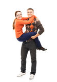 Happy couple in casual clothes isolated on white Royalty Free Stock Photo