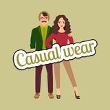 Happy couple in casual wear style vector illustration