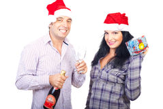 Happy couple celebrate Christmas Royalty Free Stock Image