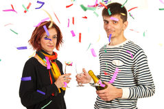 Happy couple celebrate new year party Royalty Free Stock Images