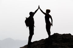 Happy couple celebrate reaching life goal and success concept Royalty Free Stock Images