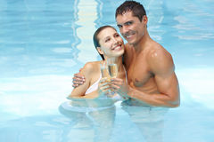 Happy couple celebrating Royalty Free Stock Photography