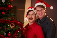 Happy couple celebrating christmas Royalty Free Stock Photo