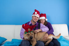 Happy couple celebrating christmas Stock Photography