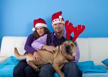 Happy couple celebrating christmas Stock Image