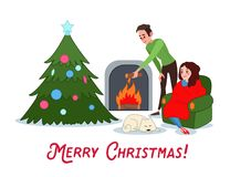 Happy Couple Celebrating Christmas near Fireplace. Man and Woman with Christmas Tree on New Year Eve. Vector illustration Stock Images