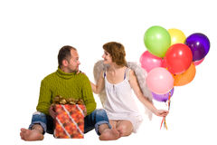 Happy couple celebrating a holiday Stock Images