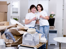 Happy couple celebrating new home Stock Image