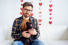 Valentine day with a dog Stock Photo