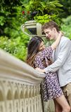 Happy couple in Central Park. Couple talking and having fun on Bow Bridge in Central park in New York City stock photos