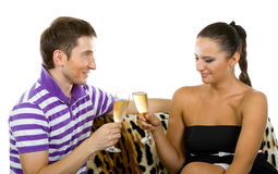 Happy couple with champagne. Portrait of happy couple with champagne Stock Images