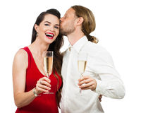 Happy couple with Champagne Royalty Free Stock Image