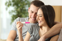 Happy Couple Checking Pregnancy Test Royalty Free Stock Image