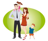 Happy couple  with  children. Family with  children on a green background Stock Photography