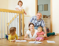 Happy couple with children and grandmother Royalty Free Stock Images