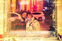 Happy couple at christmas day stock image