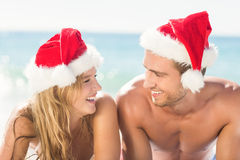 happy couple with Christmas hat Royalty Free Stock Image