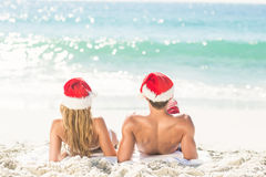 happy couple with Christmas hat Stock Images