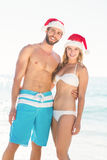 happy couple with Christmas hat Royalty Free Stock Images