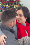 Happy couple  at Christmas night Stock Photography