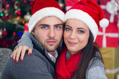 Happy couple at Christmas night. Young smiling couple at Christmas night stock image