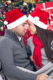 Happy couple  at Christmas night Stock Image