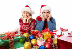 Happy couple with christmas present. Stock Images