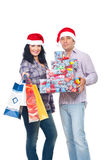 Happy couple with Christmas presents Royalty Free Stock Photography