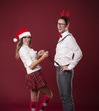 Happy couple in Christmas time Stock Images