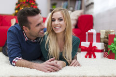 Happy couple in Christmas time Royalty Free Stock Photos