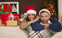 Happy couple in Christmas time Stock Photography