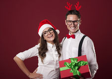 Happy couple in Christmas time Royalty Free Stock Images