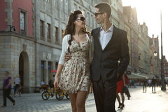 Happy couple in a city center Royalty Free Stock Image