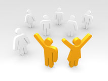 Happy couple concept. 3d illustration of people pictograms with happy couple in foreground with raised arms Royalty Free Stock Images