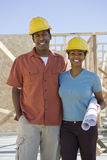Happy Couple At Construction Site Stock Images