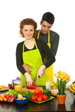 Happy couple cooking Royalty Free Stock Photo