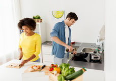 Free Happy Couple Cooking Food At Home Kitchen Royalty Free Stock Photos - 94319368